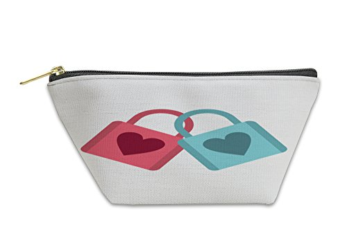 Gear New Accessory Zipper Pouch, Blue And Pink Padlocks With Heart Icon, Large, 5888608GN by Gear New