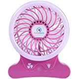Portable Fans Battery Operated 2500 mAh Ryham Rechargable Cooling Fan with Flash Light for Table, Office, Camping, Dorm, Baby Stroller(Pink)