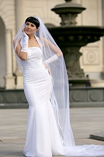 Bridal Wedding Veil White 1 Tier Cathedral Length 1/8in Satin Ribbon Edge