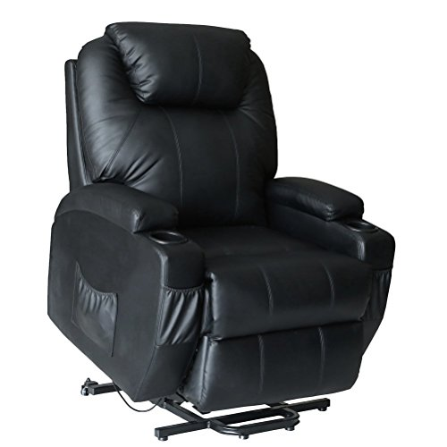 Unionline PU Leather Power Lift Chairs Recliner for Elderly Wall Hugger Heated Vibration+ Wheels Multi Controls (Lift Chair-Black)