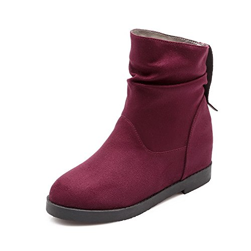 Allhqfashion Suede Boots Kitten top Heels Women's Claret on Low Pull Imitated Solid RxvRgrw