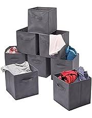 MATANA - 8 wysokiej jakości szare składane pudełka do przechowywania – 27,5 x 27,5 x 28 cm
