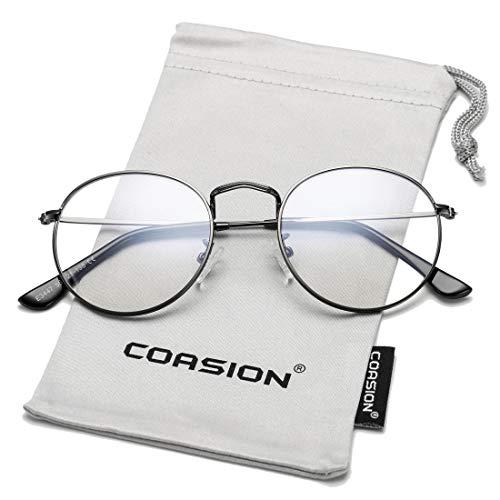 COASION Blue Light Blocking Glasses Retro Round Clear Lens Anti Blue Ray Computer Game Eyeglasses ()