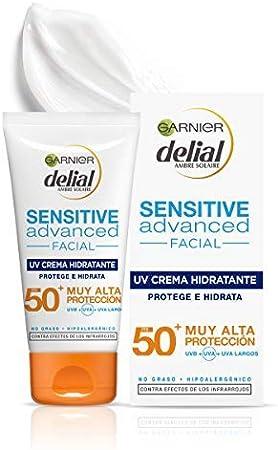 Garnier Delial Sensitive Advanced Crema Facial Hidratante Alta Protección Solar IP50+ - 50 ml