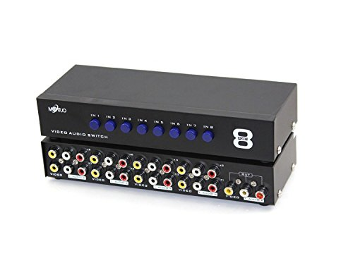 E-SDS 8-Way AV Switch RCA Switcher 8 in 1 Out Composite Video L/R Audio Selector Box for DVD STB Game Consoles CV0235