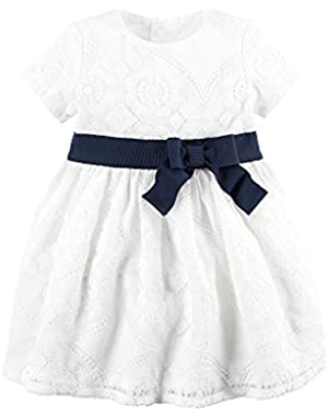 Baby Girls' Lace Dress With Bow