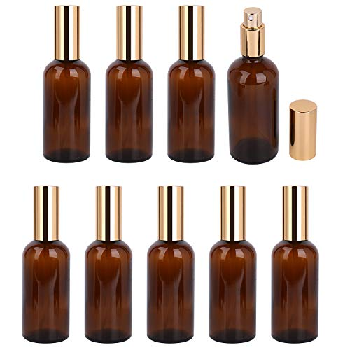 Foraineam 9 Pack 100ml 3.4 oz. Amber Glass Spray Bottle with Atomizer, Fine Mist Spray, Refillable Container for Perfume, Cleaning Products, Essential Oils