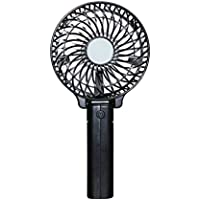 Mini Portable USB Hand Fan, Fixed Star Rechargeable Ultra Mute Desk Personal Handheld Foldable Fan with Clip and 18650 Battery for Home Office Outdoor Using (Black)