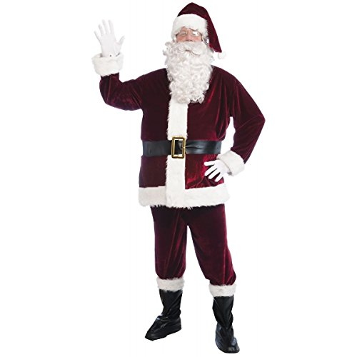 [Crimson Velvet Santa Suit Costume - Standard - Chest Size up to 42] (Red Indian Princess Costume)