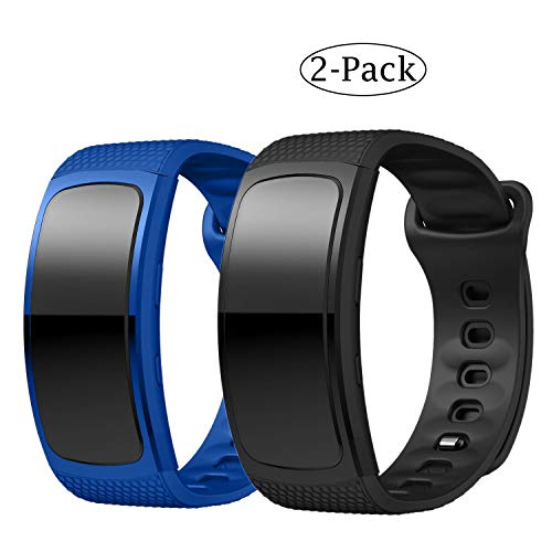for Samsung Gear Fit2 Bands/Gear Fit2 Pro Watch Band, Soft Silicone Replacement Band Sport Wristband Accessories Strap Bracele for Samsung Gear Fit 2 SM-R360/Fit 2 Pro 2Pack (Blue Black) (Gear Fit 2 Pro Vs Gear Fit 2)