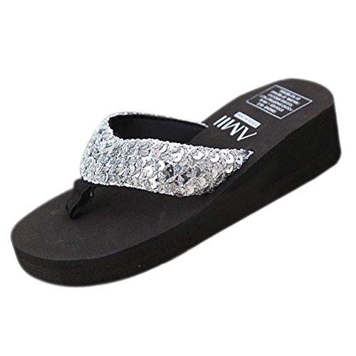 Zapatillas Chanclas 5 Mujer Paillette Negro con Antideslizante Plataforma Plata R Playa Tamano cunas TOOGOO de 45wpHq