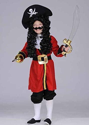 Disfraz de Pirata Rojo Estilo Capitán Garfio para niños XL (11-13 ...
