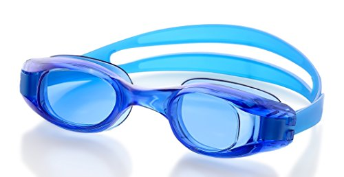 Swimming Goggles for Adults - Blue - Universal Leak Resistant Eye-Socket Fit, Ultra UV Protection, Fully Adjustable Latex Free Split Strap