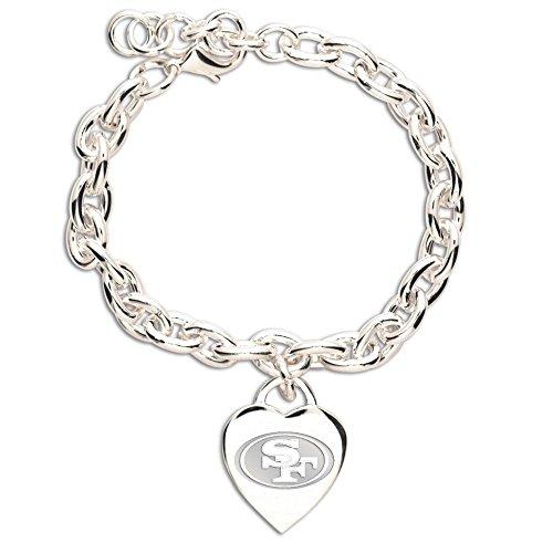 NFL San Francisco 49ers Carded Heart Charm Bracelet (San Francisco 49ers Jewelry)