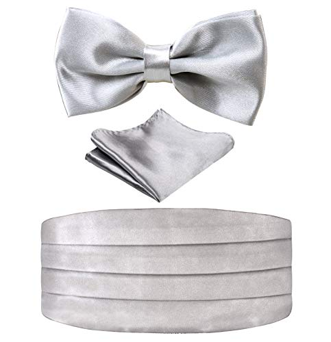 (Multicolored Silk Solid Cummerbund for Mens Gift Bow Tie Set, Silver)
