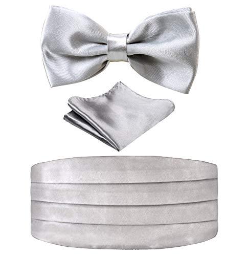 Multicolored Silk Solid Cummerbund for Mens Gift Bow Tie Set, Silver