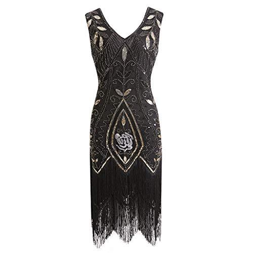 Women's 1920s Dress Sequin Art Deco Flapper Dress Gatsby Cocktail Vintage Flapper Fringe Beaded Party Dress Tank Dress ()