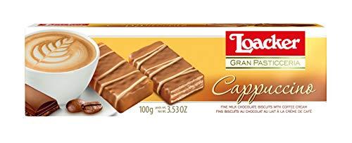 Biscoito Wafer com Recheio de Creme de CaPPuccino Coberto com Chocolate ao Leite e Brancogran Pasticceria Pacote Loacker 100g