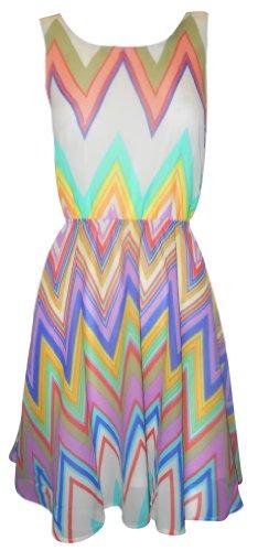 Sofias Schrank Damen Kleid rückenfrei, Zick-Zack-Muster mit Schleife, Pastell-Retro-Kleid