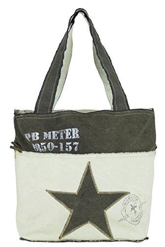 de hombro Bolso 51874 tela cuero compra con bolso de mano Bolso de Vintage hecho tela señora de Sunsa pCzwx
