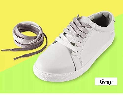 TMYQM 1Pairカラフルなシルクの靴ひもキャンディグラデーションパーティーキャンプブーツ靴ひもキャンバスストリングスキャンプシューズは成長虹のレース (Color : Gray, Size : 90cm)