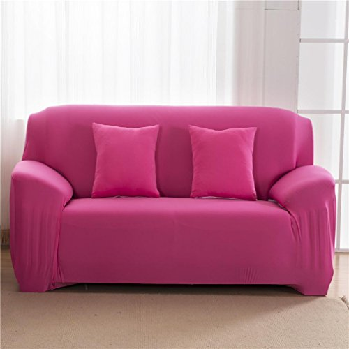Gotd 3 Seater Sofa Couch Slipcover Stretch Covers Elastic Fabric Settee Protector Fit Solid Color, Suitable for sofa size: 195-230cm (Hot Pink)