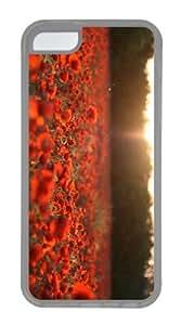 cute case Poppy Field Sunset TPU Transparent Case for iphone 5C