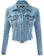 FASHION BOOMY Women's Button Down Long Sleeve Classic Outerwear Denim Jacket