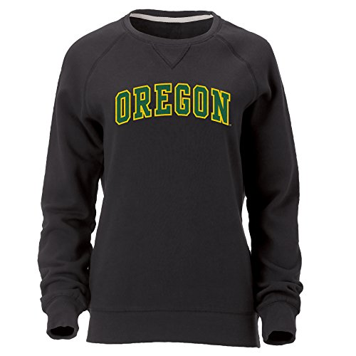 Ouray Sportswear NCAA Oregon Ducks Women's Hotshot Crew Long Sleeve, Black, Medium