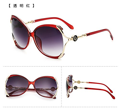 nouvelle couleur star des modèles de lunettes de soleil les lunettes la marée des lunettes de soleil madame le visage rond les yeux ronds korean rétroTransparent red (cloth)