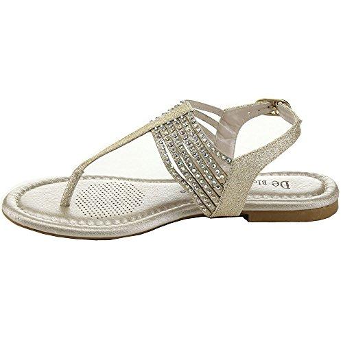 De Bloesem Collectie Jacob-5 Dames Glitter T-strap Slingback Sandalen Nude