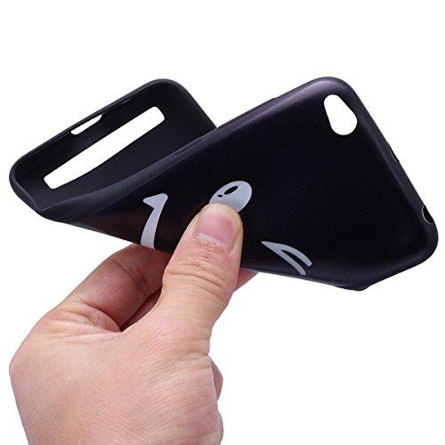 Funda Xiaomi Redmi 5A,SainCat Moda Alta Calidad suave TPU Silicona Suave Funda Carcasa Caso Parachoques Diseño pintado Patrón para Carcasas Fondo negro TPU Silicona Ultra Slim Ultra-Delgado Anti-Araña Smiley
