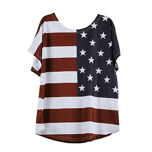 Respctful ♣ American Flag Clothing Woman Short Sleeved Top Fashion Star Stripe t-Shirt Summer American Day Blouse Red
