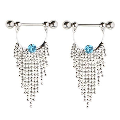 (1 Pair Nipple Ring Nipple Piercing Jewelry Shields Dangle Tassel Barbell 14g (Color - Blue Crystal))