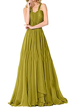 DINGZAN Woman's Halter Pleats Mother of the Bride Dresses Chiffon Long 2018 17 Olive