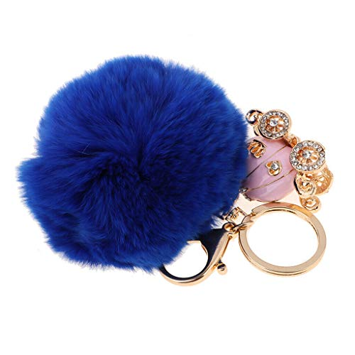 NATFUR Cute Soft Fluffy Plush Ball Pendant Keychain Keyring Keyfob for Girls Women Elegant Novelty Key-Chain for Men Holder Perfect for Gift Pretty | Color - Blue