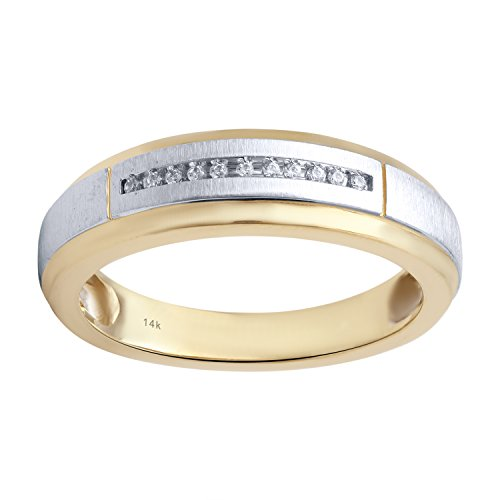 14K Yellow Gold Diamond Accent Men's Wedding Ring by Diamante