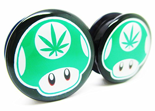 Green 1-Up Mushroom Pot Leaf Ear Plugs - Acrylic Screw-On - 10 Sizes - Brand NewPair (2 Gauge - Plug Leaf Pot