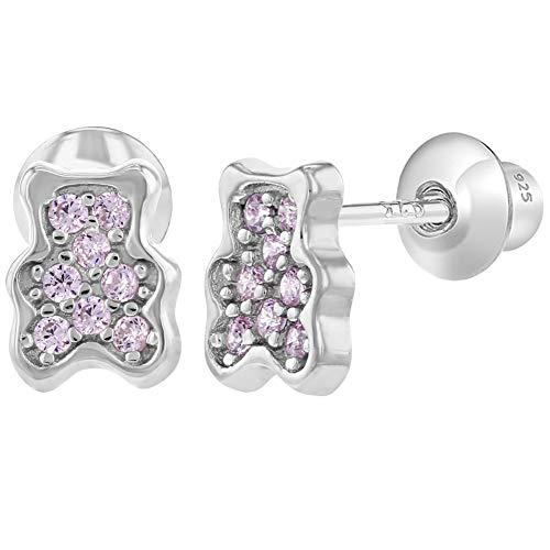 925 Sterling Silver Pink CZ Teddy Bear Screw Back Earrings Baby Girl Infants