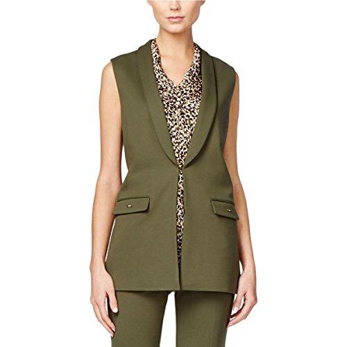 Tahari ASL Womens Plus Shawl Collar Faux Pockets Suit Vest Green 18