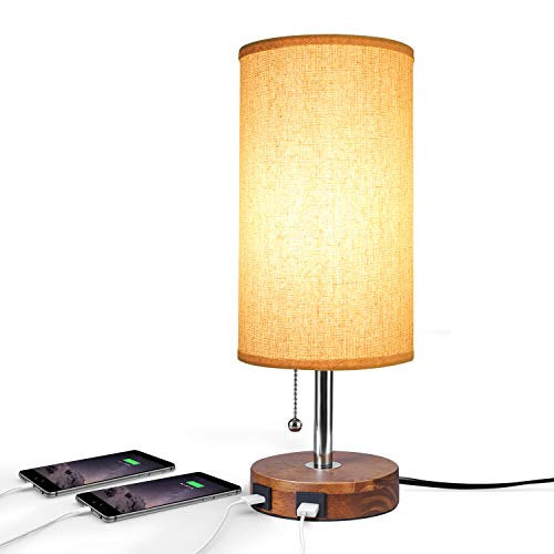 (Hong-in USB Table Lamp with Dual USB Port, Solid Wood Desk Lamp, Minimalist Design Nightstand Lamp with Fabric Shade USB Charging Port for Bedroom, Living Room, Coffee Table, Study Room (Round))