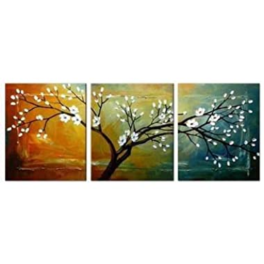 Wieco Art  Full Blossom  Hand-Painted Modern Framed Floral Oil Paintings on Canvas Wall Art
