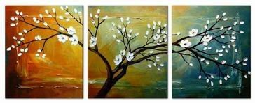 Wieco Art Full Blossom Hand Painted Modern Framed Floral Oil Paintings On Canvas  Wall Art