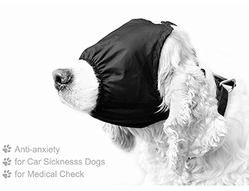 Delifur Dog Anxiety Mask Muzzle Calming Cap Eye Mask Nylon Shading for Grooming Anti Car Sickness (M)