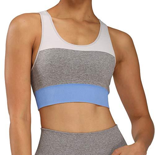 Aoxjox Women's Sports Bra Trinity Seamless Workout Crop (Sky Blue, Medium)