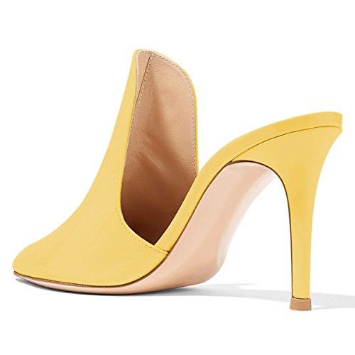 Uniti Mulattiere Su 15 Degli Sandali Cm Tacchi Donne Giallo Scarpe Dimensioni Stiletto Di 8 Lucida Fsj Stati Alti Scivolare Pantofole 4 Scorrono Colore vTgxEWwq
