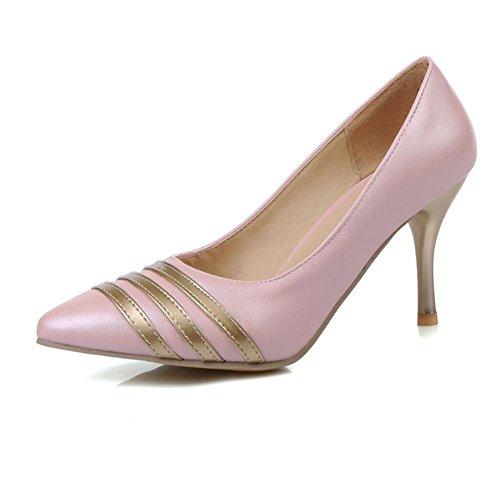 Rosa 38 Viola HQuattro striscia scarpe antiscivolo oro di fine blu punta stagioni Pink all'usura donne a tacco H gomma fondo bianco resistente XYwBq