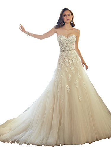 Elley Women's Sweetheart Applique Bodice Strapless Long Floor Length Tulle Wedding Gown for Bride Light Champagne US10