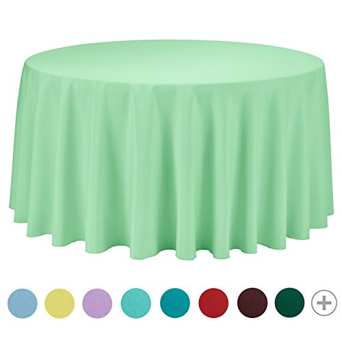 VEEYOO 120 inch Round Solid Polyester Tablecloth for Wedding