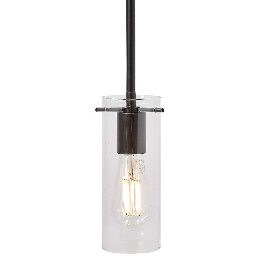 New Simple Modern Clear Glass Pendant Light Black Finish| Contemporary Sleek Cylinder Design | Clear Fixture